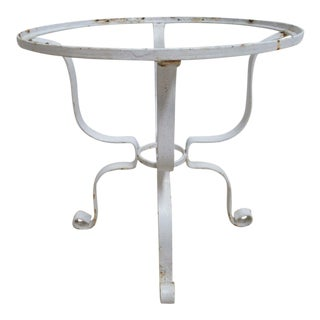Vintage French White Outdoor Round Patio Porch End Table
