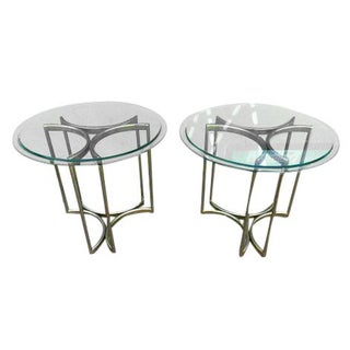 70s Hollywood Regency Brass Side Tables - A Pair