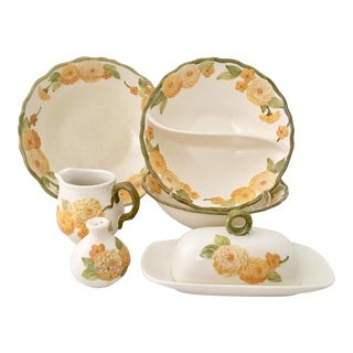 "1960s Ceramic Metlox ""Zinnia"" Dinnerware - Set of 7"