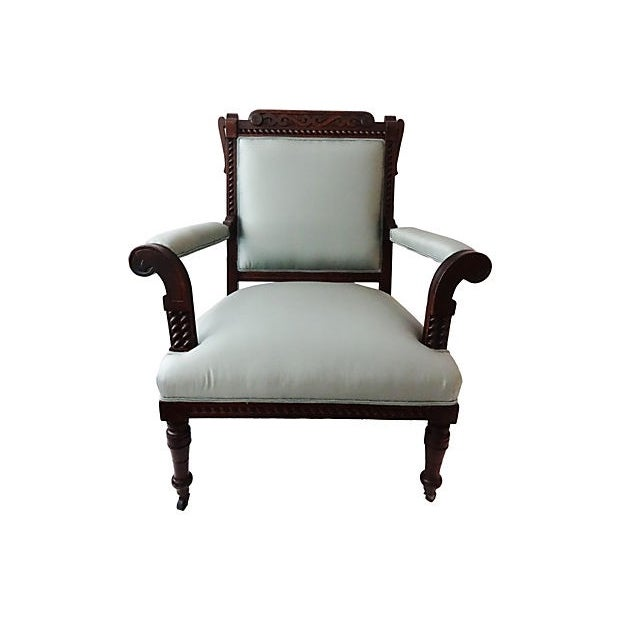 Antique Victorian Chair with Blue Silk - Image 2 of 7