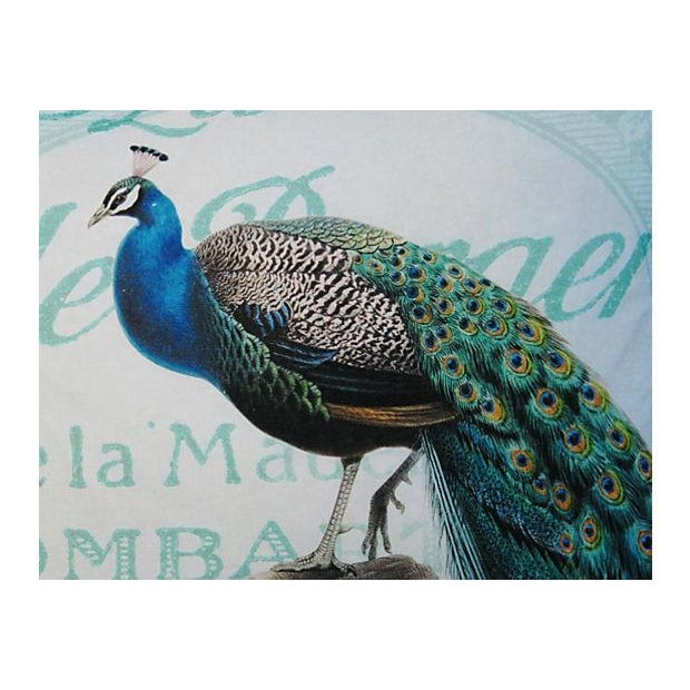 French Script Linen Pillow with Peacock - Image 6 of 7