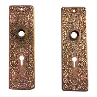 Art Deco Solid Brass Front Door Plates - Pair