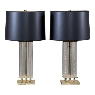 Pair of Gaetano Sciolari Vintage Italian Brass and Glass Square Lamps circa 1970