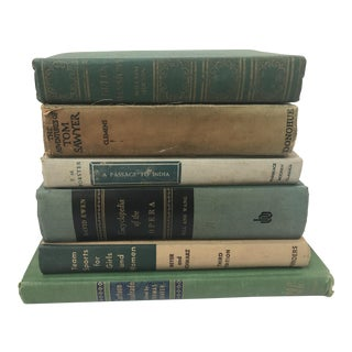 Antique Green Books - Set of 6