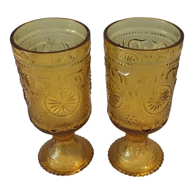 Vintage Amber Vintage Goblets - A Pair - Image 1 of 5