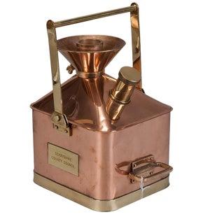 Medium 19th Century English Copper and Brass Fuel Measure