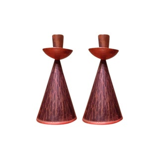 Hand-Hammered Coppered Candlesticks - Pair