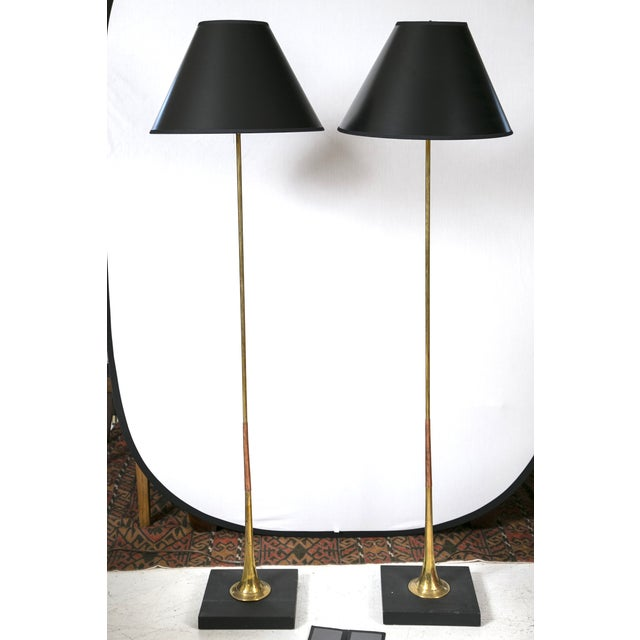 Brass & Copper Trumpet Floor Lamps - A Pair - Image 2 of 5