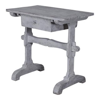 French Rustic Painted Pine Side Table With a Single Drawer, circa 1870