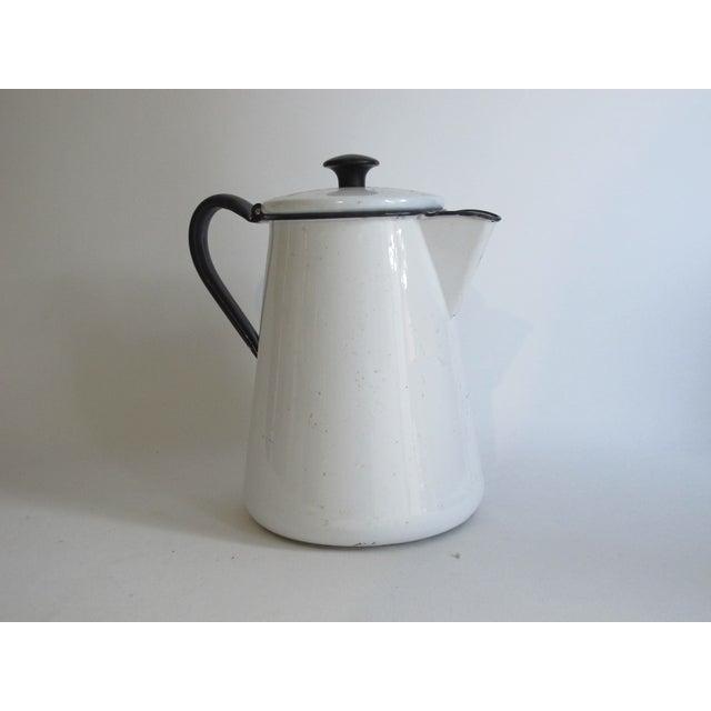 French White & Blue Enamel Coffee Pot - Image 2 of 6