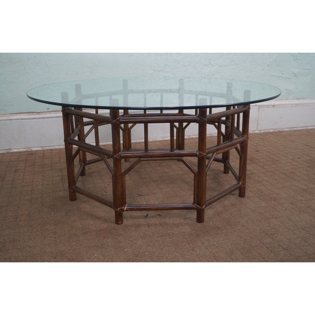Image of Bamboo Rattan Base Round Glass Top Coffee Table
