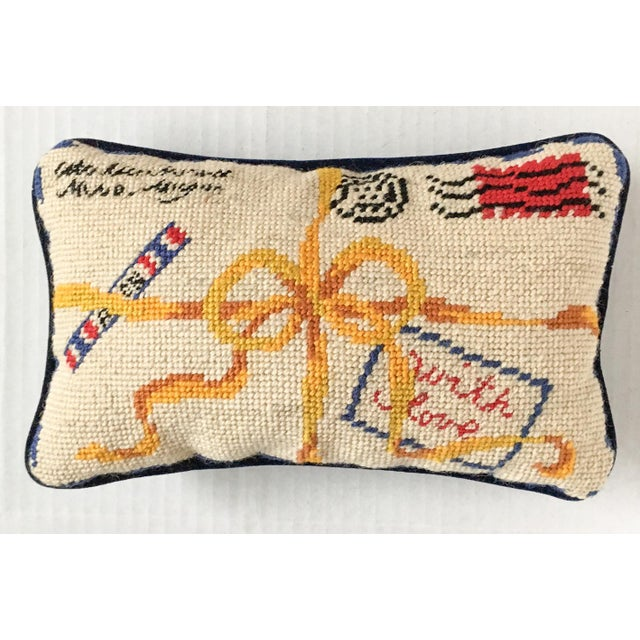 "French Style ""With Love"" Par Avion Letter Needlepoint Pillow - Image 2 of 5"