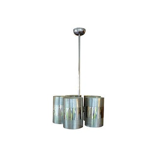 Vintage Ten Light Italian Chrome Chandelier