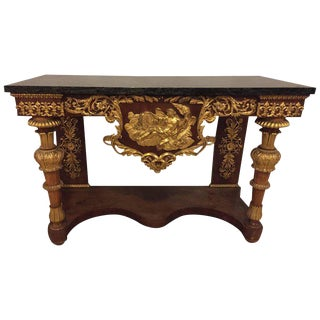 19th Century Empire Marble-Top Console Table with Greek God Design Front