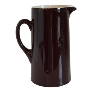 1950s Hall Pottery Chocolate Brown Pitcher