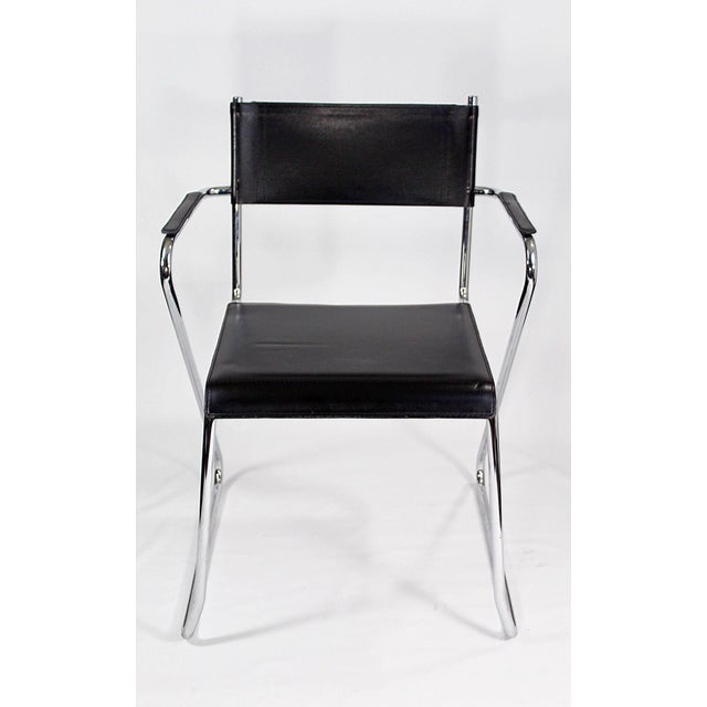 Image of Modernist Chrome & Black Leather Chairs - A Pair