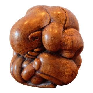 Hand Carved Vintage Wooden Sumo Wrestler Sculpture