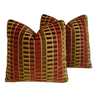 Designer Custom Kravet Grand Finale Silk Gem Pillows - A Pair