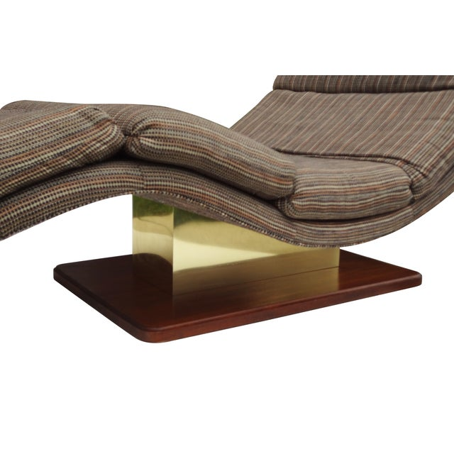 Carson 39 s wave chaise brass walnut lounge chair chairish for Carson chaise lounge