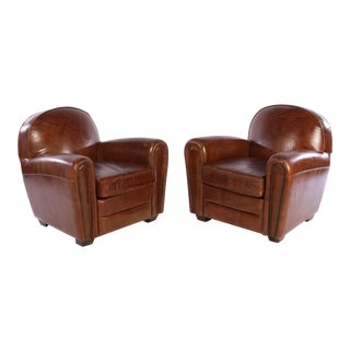 French Art Deco Style Leather Club Chairs - A Pair