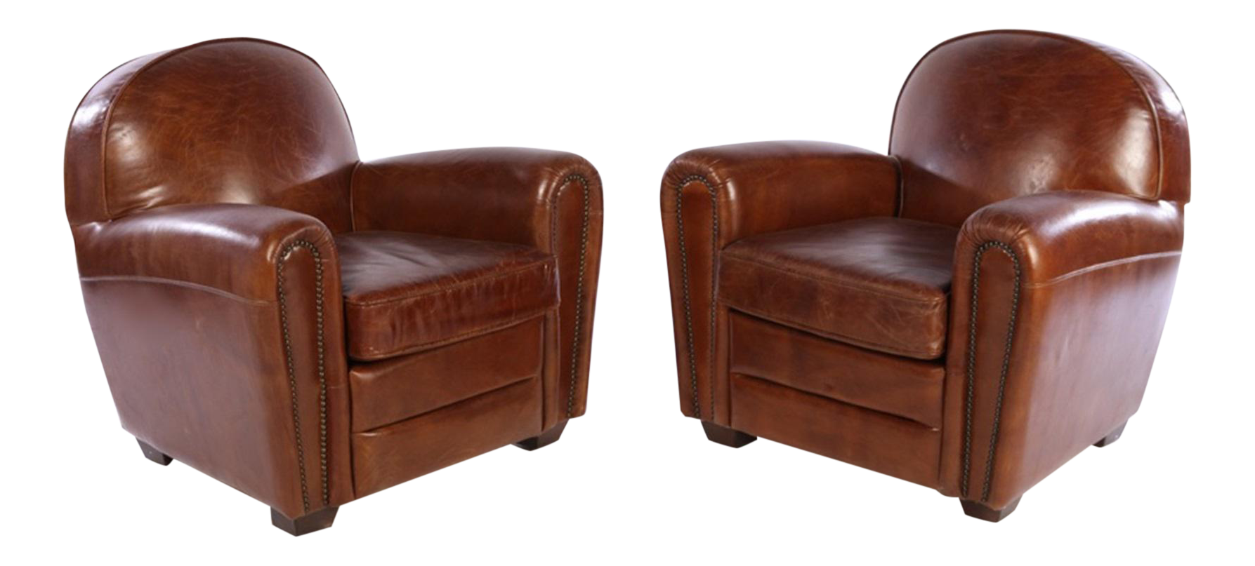 french art deco style leather club chairs a pair - Leather Club Chairs
