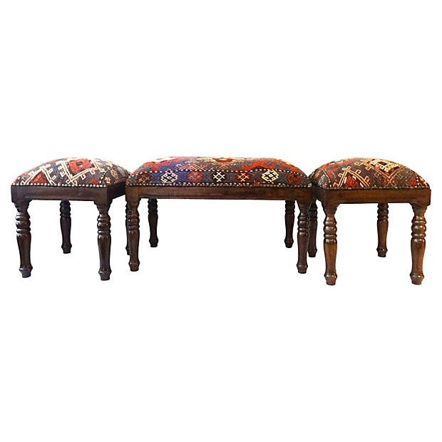 Antique Caucasian Upholstered Stools - 3 - Image 2 of 8