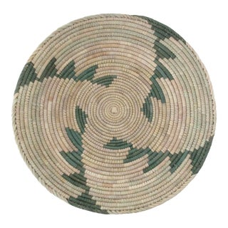 Native American Style Green Step Pattern Basket