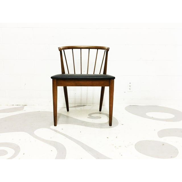 Mid Century Modern Chair Spindle Back Walnut Chair - Image 5 of 6