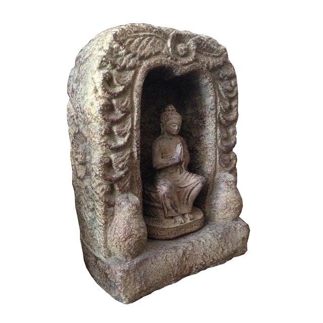 Caved Praying Buddha Statue - Image 2 of 2
