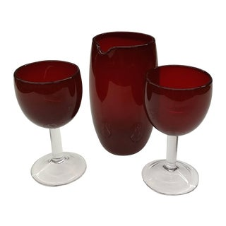 Mid Century Red Glass Martini Drinkware - Set/3