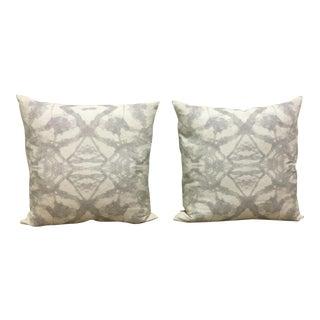 Gray & White Linen/Cotton Blend Pillows - a Pair