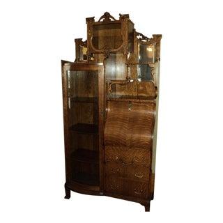Antique Quarter Sawn Oak China Cabinet