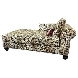 Leopard Fabric Mid-Century Lounge