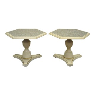 Pair Vintage Hollywood Regency Mosaic Glass Tile Top Side Accent Tables