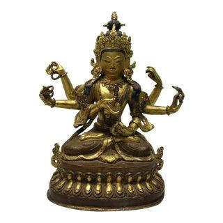 Antique Tibetan Gilt Bronze Figure of Seated Bodhisattva