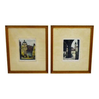 Early 1900's Hans Leisch Signed Prints on Silk- A Pair