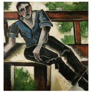 """Hugo Scheiber's """"Man on a Bench"""" work on paper"""