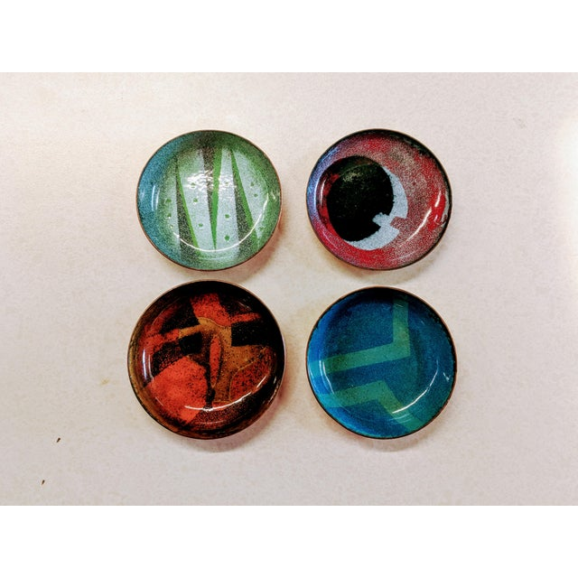 Mid-Century Modern Enamel on Copper Small Bowls - Set of 4 - Image 7 of 7