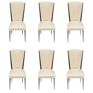 Beautiful Set Of Six French Art Deco Mahogany Dining Chairs Circa 1940s