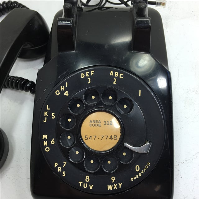 Vintage 1950s Black Rotary Dial Telephone - Image 9 of 11