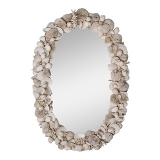 Vintage French Shell Encrusted Oval Mirror circa 1950