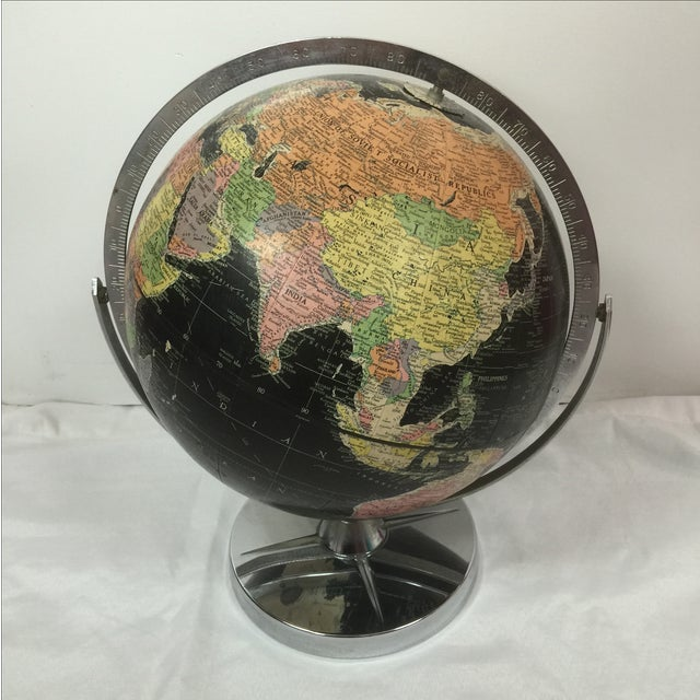 Vintage Black World Globe with Silver Stand - Image 2 of 7