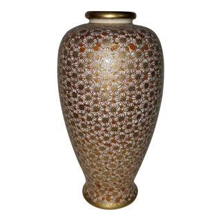 Antique Satsuma Japanese Millefiori Gold White Red, Small Vase, Shimazu Crest
