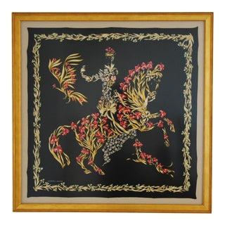 "French Hermes Framed ""Cheval Fleuri"" Floral Horse Motif Silk Scarf"