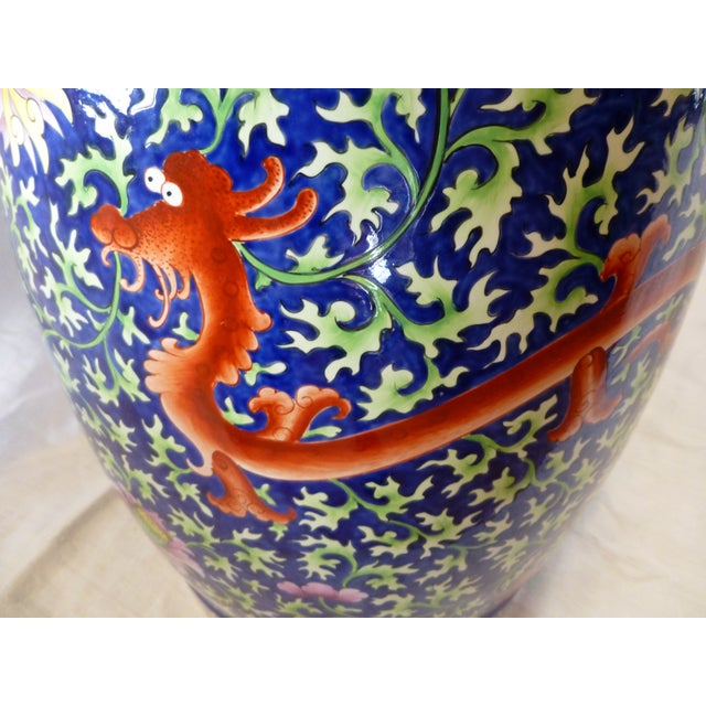 Image of Chinoiserie Garden Stool With Dragon Motif