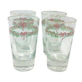 Christmas Holiday Glass Tumblers - Set of 4