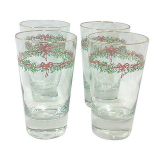 Holly Garland Glass Tumblers - Set of 4