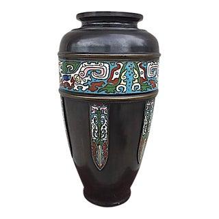Signed Champleve Bronze Vase