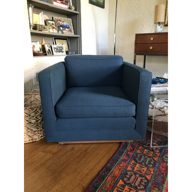1970s Marden Mid-Century Blue Upholstered Sofa and Chair - Image 8 of 11