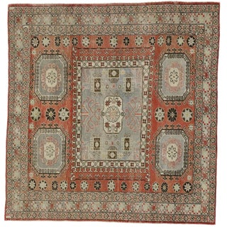 "Distressed Turkish Mid-Century Modern Style Square Rug - 4'3"" x 4'5"""